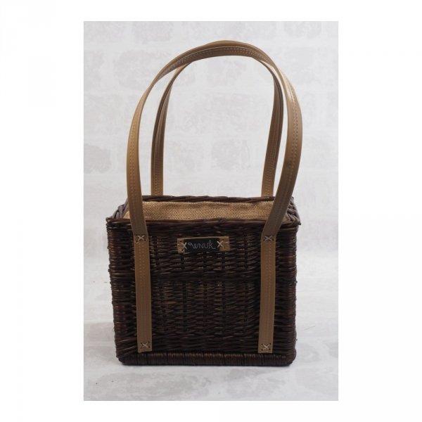 Torebka - kosz z obszyciem (wenge/karmelowe) - sklep z wiklina - zdjęcie 1