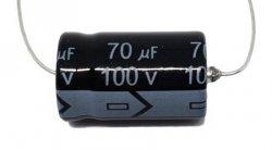 Kondensator 70uF 100V, osiowy