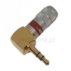 Wtyk Jack stereo 3,5mm kątowy Gold