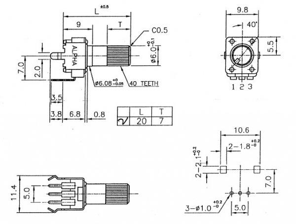Alpha 9mm plastic - 50k/B liniowy