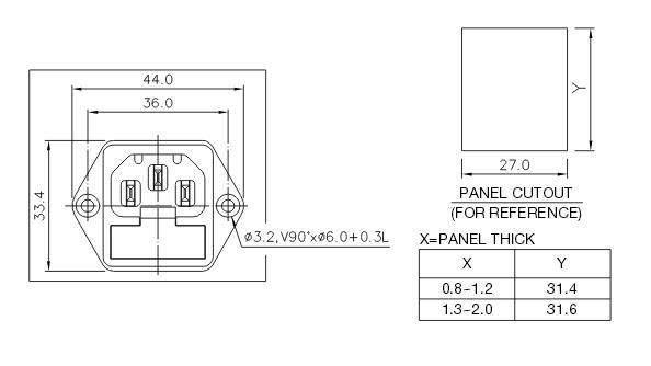 Gniazdo sieciowe IEC + bezpiecznik