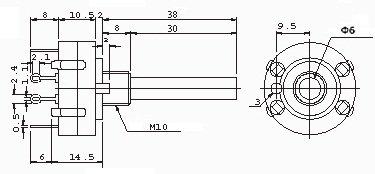 Przełącznik obrotowy 6 pozycji 2 obw. 24mm
