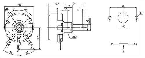 Potencjometr 2,2k/B liniowy 2W