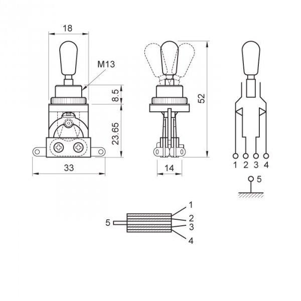 Przełącznik styl Les Paul 3 pozycje chrom