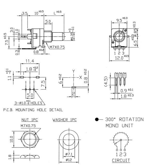 Alpha 9mm - 100k/B liniowy, 11 detents