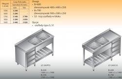 Stół zlewozmywakowy 2-zbiornikowy lo 240/s3 - 1600x600