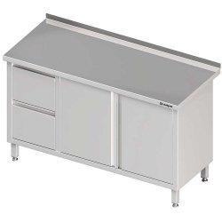 Stół przyścienny z blokiem dwóch szuflad (L),drzwi skrzydłowe 1800x700x850 mm