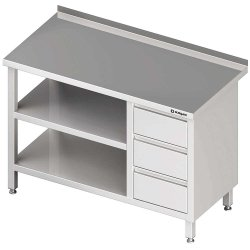 Stół przyścienny z blokiem trzech szuflad (P),i 2-ma półkami 1500x700x850 mm