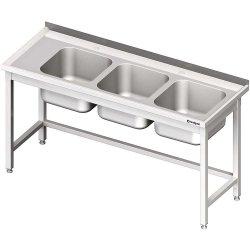 Stół ze zlewem 3-kom.(P),bez półki 1600x700x850 mm