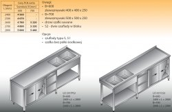 Stół zlewozmywakowy 2-zbiornikowy lo 257/s2 - 2700x700