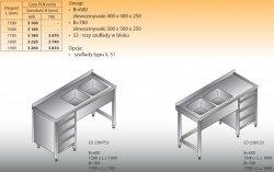 Stół zlewozmywakowy 2-zbiornikowy lo 238/s3 - 1800x700