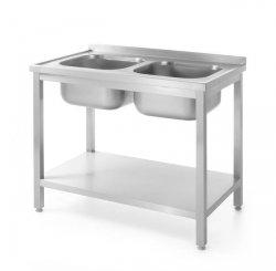 Stół z dwoma zlewami z półką - skręcany 1000x600x(H)850