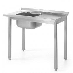 Stół załadowczy do zmywarek ze zlewem -skręcany - lewy 100x600x(H)850