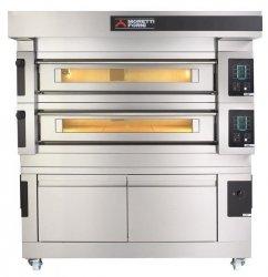Moretti Forni dwukomorowy elektryczny piec do pizzy i piekarniczy z okapem i bazą S125E - kod MFS125D