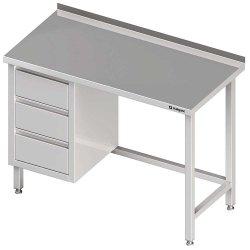 Stół przyścienny z blokiem trzech szuflad (L),bez półki 1400x700x850 mm