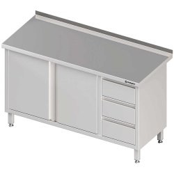 Stół przyścienny z blokiem trzech szuflad (P),drzwi skrzydłowe 1500x700x850 mm