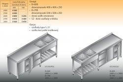 Stół zlewozmywakowy 2-zbiornikowy lo 255/s2 - 2800x700