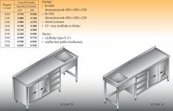 Stół zlewozmywakowy 1-zbiornikowy lo 226/s3 - 2700x700