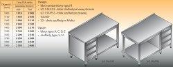 Stół roboczy z blokiem szuflad i półką lo 135/s3 - 1100x700