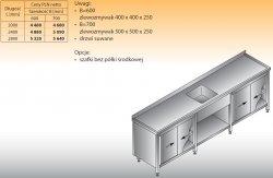 Stół zlewozmywakowy 1-zbiornikowy lo 222 - 2400x700