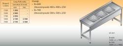 Stół zlewozmywakowy 3-zbiornikowy lo 261 - 1900x600