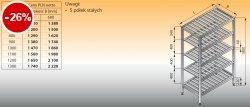 Regał z półkami stałymi ociekowymi lo 603 - 700x400