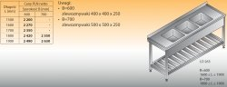 Stół zlewozmywakowy 3-zbiornikowy lo 263 - 1600x600