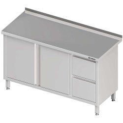 Stół przyścienny z blokiem dwóch szuflad (P),drzwi skrzydłowe 1900x600x850 mm