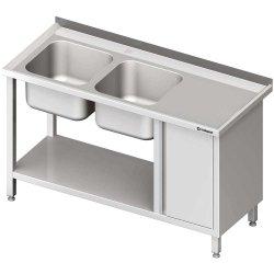 Stół ze zlew 2-kom.(L), z szafką i półką 1500x600x850 mm