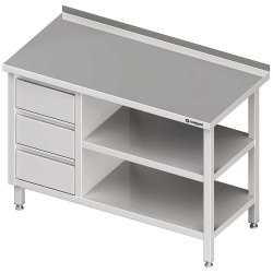 Stół przyścienny z blokiem trzech szuflad (L),i 2-ma półkami 1800x600x850 mm