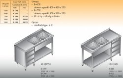 Stół zlewozmywakowy 2-zbiornikowy lo 239/s3 - 1900x700