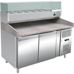 Stół chłodniczy 2 drzwiowy, 600X400 mm,  do pizzy z nadstawą
