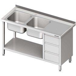 Stół ze zlewem 2-kom.(L), z blokiem trzech szuflad i półką 1700x700x850 mm