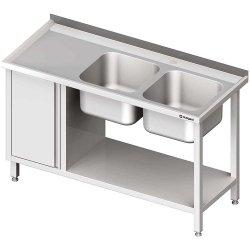 Stół ze zlew 2-kom.(P), z szafką i półką 1500x600x850 mm