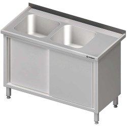 Stół ze zlewem 2-kom.(L),drzwi suwane 1800x600x850 mm