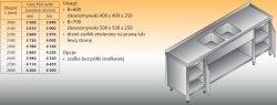 Stół zlewozmywakowy 2-zbiornikowy lo 251 - 2000x700