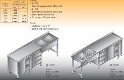 Stół zlewozmywakowy 2-zbiornikowy lo 253/s3 - 2600x700