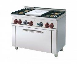 Kuchnia gazowa zpłytą żeliwną i piekarnikiem
