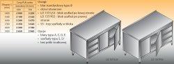 Stół roboczy z blokiem szuflad i szafką lo 137/s3 - 1400x600