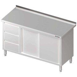 Stół przyścienny z blokiem trzech szuflad (L),drzwi suwane 1900x600x850 mm