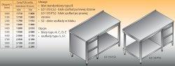 Stół roboczy z blokiem szuflad i półką lo 135/s2 - 1400x700