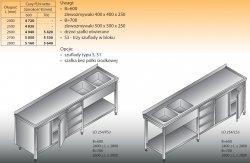 Stół zlewozmywakowy 2-zbiornikowy lo 254/s3 - 2600x700