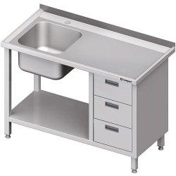 Stół ze zlewem 1-kom.(L), z blokiem trzech szuflad i półką 1500x700x850 mm