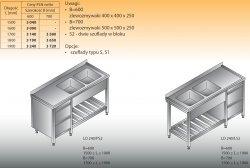 Stół zlewozmywakowy 2-zbiornikowy lo 240/s2 - 1700x700