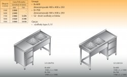 Stół zlewozmywakowy 2-zbiornikowy lo 238/s2 - 1800x700