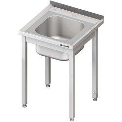 Stół ze zlewem i otworem pod rozdrabniacz, bez półki 600x600x850 mm skręcany