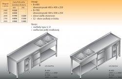 Stół zlewozmywakowy 2-zbiornikowy lo 254/s2 - 2700x700
