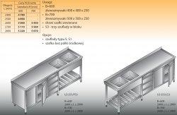 Stół zlewozmywakowy 2-zbiornikowy lo 255/s3 - 2600x700