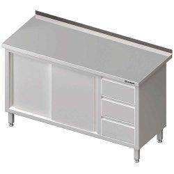 Stół przyścienny z blokiem trzech szuflad (P),drzwi suwane 1800x600x850 mm