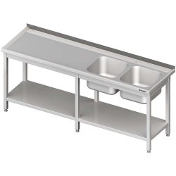 Stół ze zlewem 2-kom.(P),z półką 2800x700x850 mm